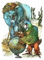 Слонёнок ужасно умный. И попугай тоже ужасно умный. Они оба ужасно умные. Просто один другого умней…