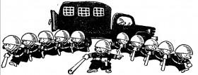 - А кто такие эти полицейские? - спросила Селёдочка. - Бандиты! - с раздражением сказал Колосок. - Честное слово, бандиты! По-настоящему, обязанность полицейских – защищать население от грабителей, в действительности же они защищают лишь богачей. А богачи-то и есть самые настоящие грабители. Только грабят они нас, прикрываясь законами, которые сами придумывают. А какая, скажите, разница, по закону меня ограбят или не по закону? Да мне всё равно!