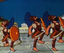Не отдадим родной земли, Никто из нас не трус! Идут Марцелла корабли - На приступ Сиракуз! А мы открыто говорим - Наш Архимед неповторим, И нам не страшен - Рим!  Не уставай, строгай, пили, Тащи за брусом  брус! Не отдадим родной земли - Любимых Сиракуз! Врагу мы прямо говорим - Наш Архимед неповторим, И нам не страшен - Рим!