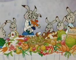 Ах, гостинцы хороши! Будут рады малыши. Ушастик, Пушистик, Звонок, Прыгунок - Все по лавкам скок-поскок. <...> Все зайчата папу ждут. Всех по-разному зовут. Четыре сыночка и Лапочка - дочка. Обожаю малышей! <...> Дома ждёт меня семья! Любят фрукты сыновья. Ушастик, Пушистик, Звонок, Прыгунок - Все по лавкам скок-поскок.