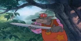 Робин Гуд и крошка Джон по лесу гуляли, Обсуждая то да сё, весело смеясь. Вспоминали о былом, дурака валяли, Тили-тили, трали-вали, что за чудный день!  Кто мог думать, что в водице будет западня таиться? Что Ноттингемский шериф Вместе со своим отрядом притаился где-то рядом, Выследил и окружает их?  Робин Гуд и крошка Джон по лесу бежали, Меж деревьев через ограду мчались как олень. От погони ускользнули, вновь шерифа обманули, Тирли-тирли, трули-трули, что за чудный день! Тирли-тирли, трули-трули, что за чудный день!