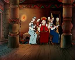 Три девицы под окном Пряли поздно вечерком. «Кабы я была царица,- Говорит одна девица,- То на весь крещёный мир Приготовила б я пир». - «Кабы я была царица,- Говорит её сестрица,- То на весь бы мир одна Наткала я полотна». - «Кабы я была царица,- Третья молвила сестрица,- Я б для батюшки-царя Родила богатыря».