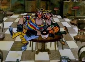 Мы бандито, знаменито, Мы стрелято пистолето, oh, yes! Мы фиато разъежато Целый день в кабриолето, oh, yes! Постоянно пьем чинзано, Постоянно сыто-пьяно, oh, yes! Держим в банко миллионо И плеванто на законо, oh, yes!